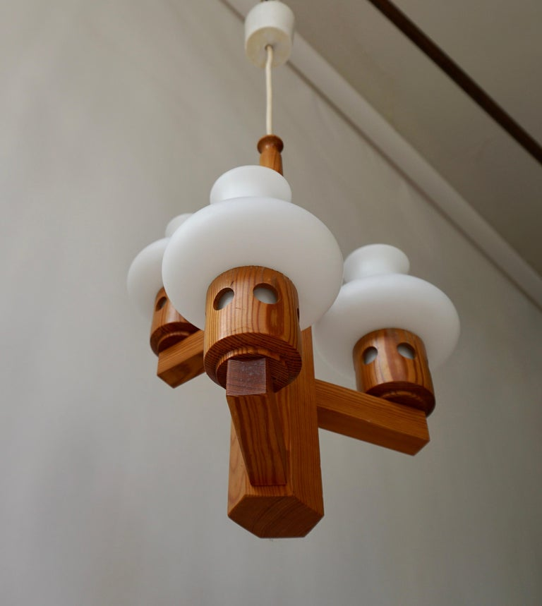 Swedish Wood and Opaline Chandelier For Sale 3