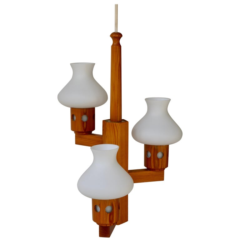 Swedish Wood and Opaline Chandelier For Sale