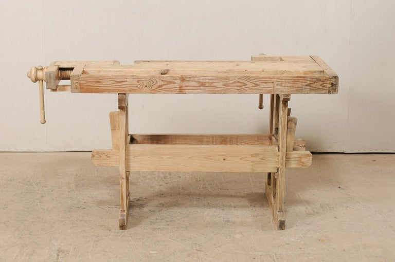 Swedish Wood Work-Bench Table with Shallow Profile For Sale 5