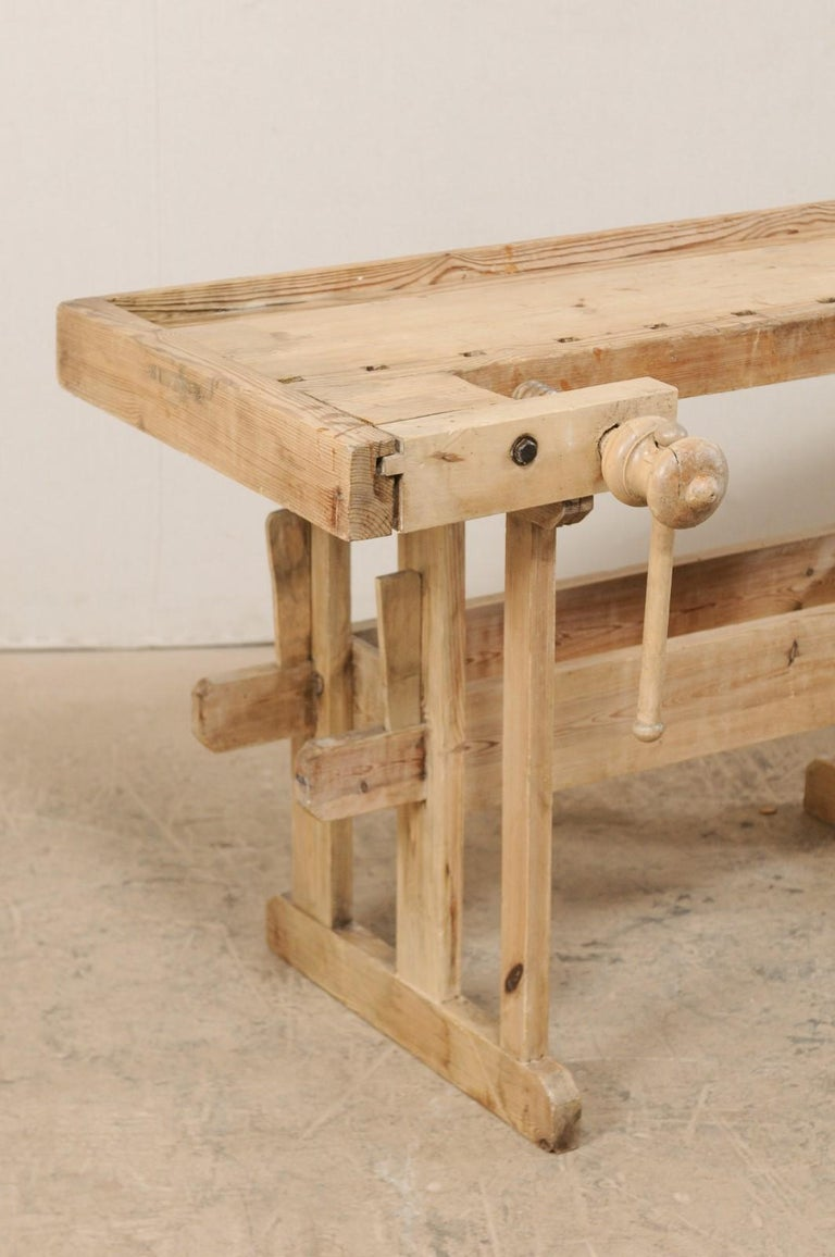 Industrial Swedish Wood Work-Bench Table with Shallow Profile For Sale