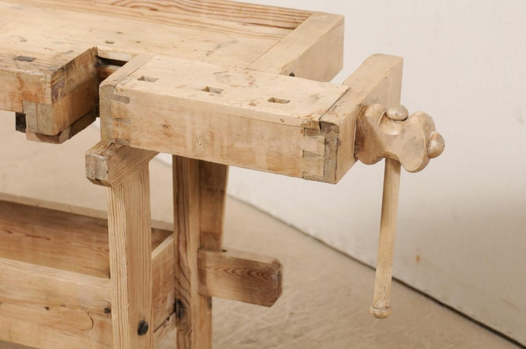 Swedish Wood Work-Bench Table with Shallow Profile For Sale 1