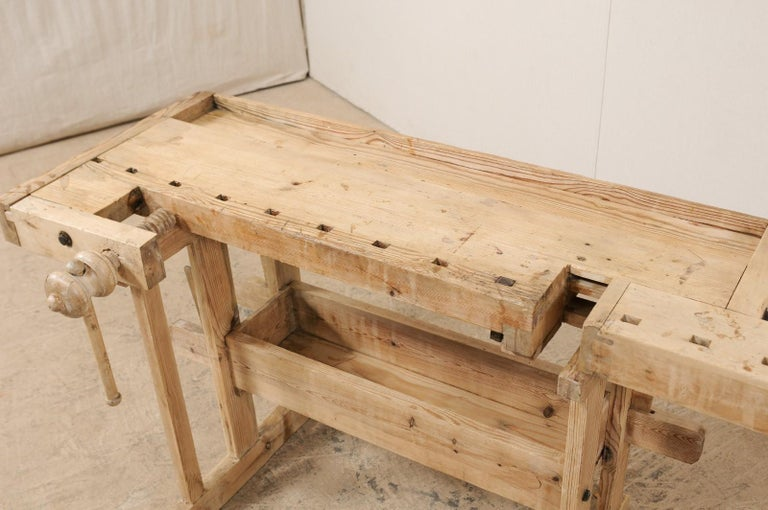 Swedish Wood Work-Bench Table with Shallow Profile For Sale 2