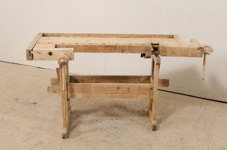 Swedish Wood Work-Bench Table with Shallow Profile For Sale 4