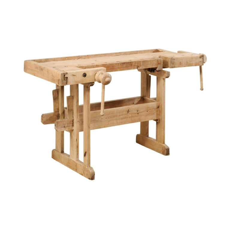 Swedish Wood Work-Bench Table with Shallow Profile For Sale