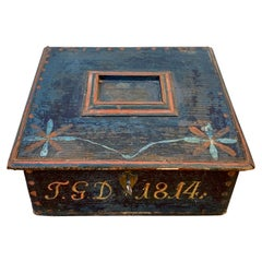 Swedish Wooden Folk Art Box with Originally Paint, Dated 1814