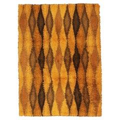 Swedish Wool Rya Yellow & Brown Field Vintage Rug, 1920-1950