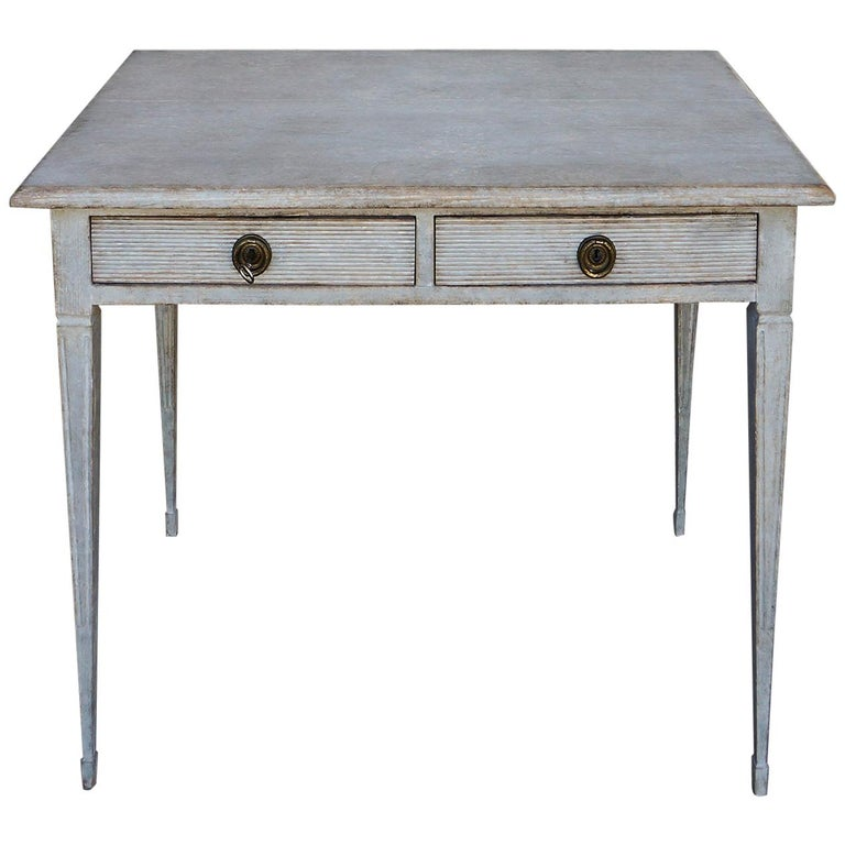 Swedish Writing Table with Drawers For Sale