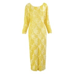 Swee Lo Fabulous Hand Beaded & Sequinned Yellow Silk Vintage Evening Dress