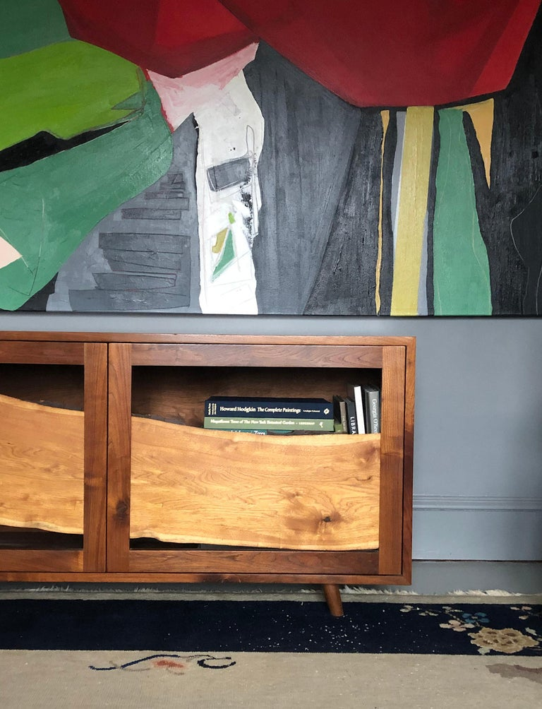 Contemporary Sweep Cabinet in Black Walnut and Live Edged Butternut with Hand-Turned Legs For Sale