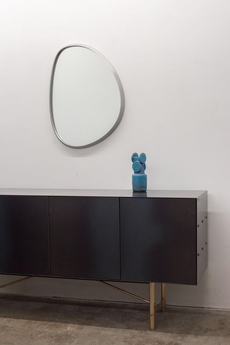 Modern Sweep Wall Mirror in Brushed Aluminum For Sale