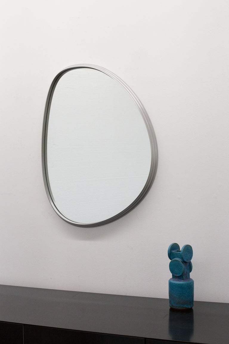 Canadian Sweep Wall Mirror in Brushed Aluminum For Sale