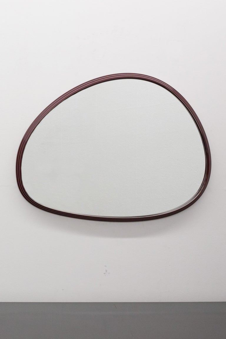 Sweep Wall Mirror in Brushed Aluminum In New Condition For Sale In Vancouver, BC