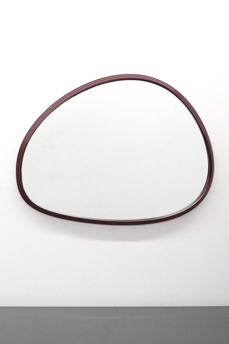 Modern Sweep Wall Mirror in Powder Coated Aluminium Burgundy For Sale