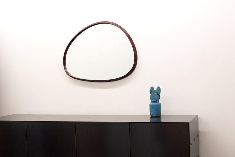 Canadian Sweep Wall Mirror in Powder Coated Aluminium Burgundy For Sale