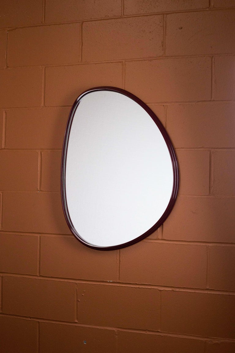 Contemporary Sweep Wall Mirror in Powder Coated Aluminium Burgundy For Sale