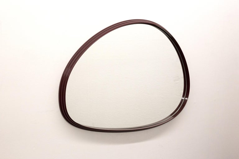 Polished Sweep Wall Mirror in Powder Coated Aluminium Burgundy For Sale