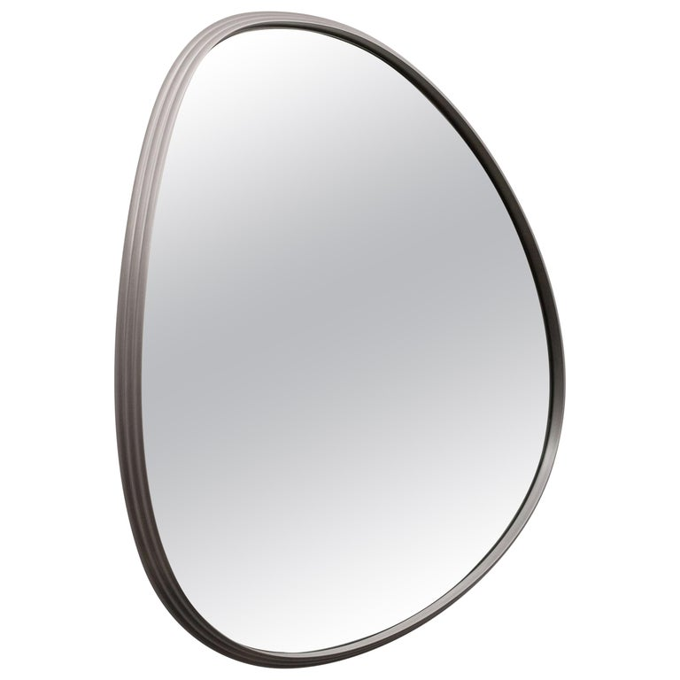 Aluminum Sweep Wall Mirror in Powder Coated Aluminium Burgundy For Sale