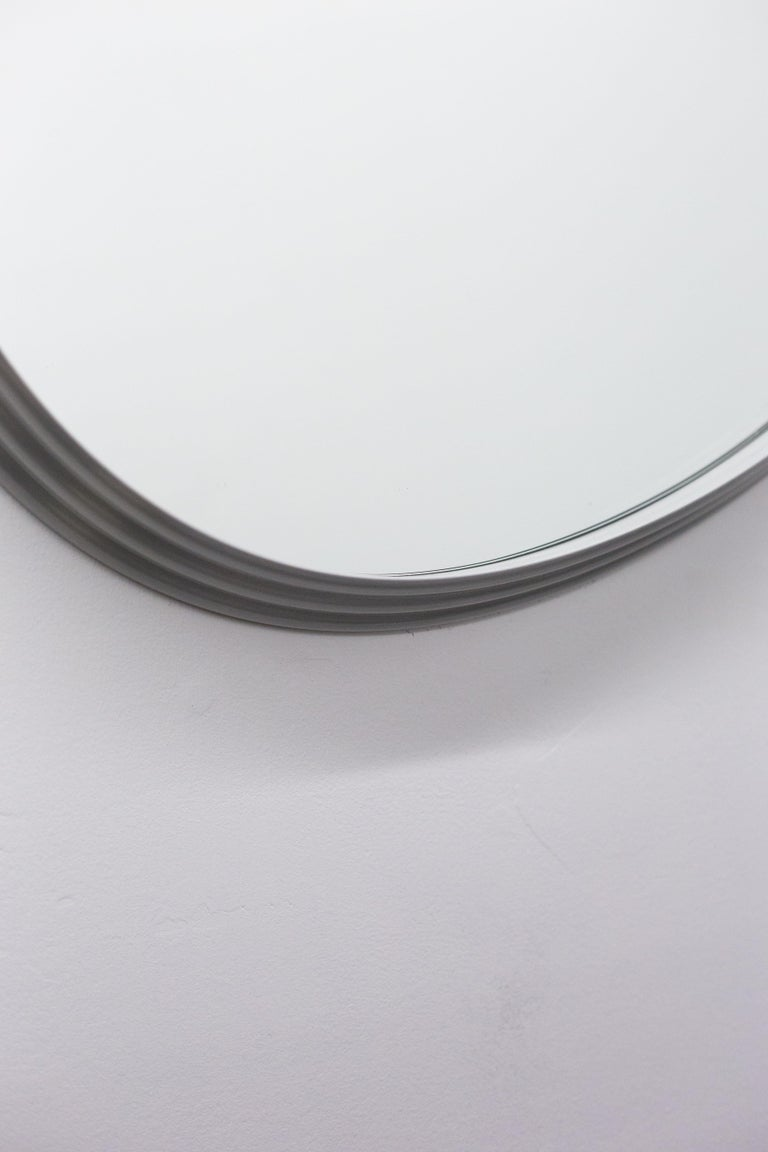 Sweep Wall Mirror in Powder Coated Aluminium Burgundy For Sale 3