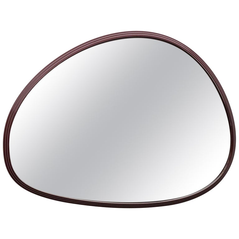 Sweep Wall Mirror in Powder Coated Aluminium Burgundy For Sale