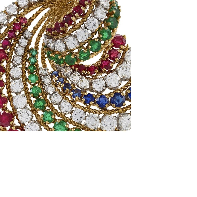 Sweeping Gold, Diamond, Ruby, Emerald and Sapphire Brooch by Van Cleef & Arpels In Excellent Condition For Sale In New York, NY