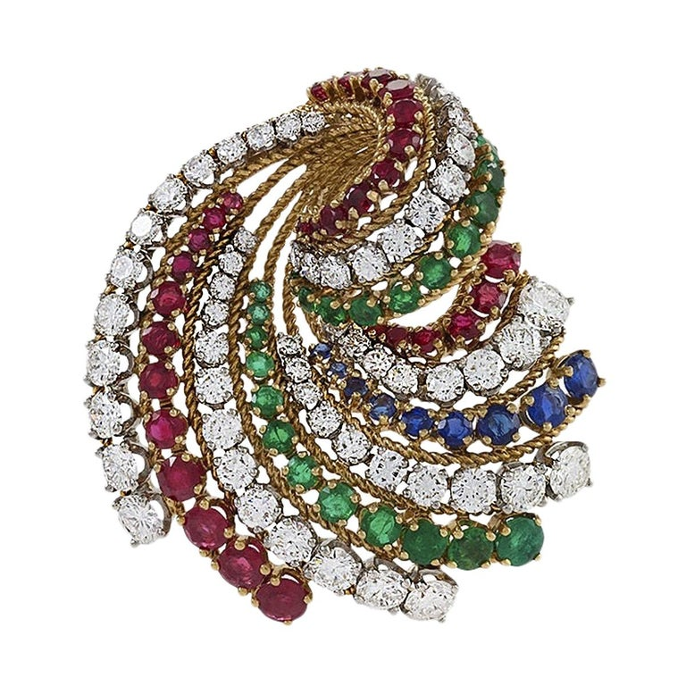 Sweeping Gold, Diamond, Ruby, Emerald and Sapphire Brooch by Van Cleef & Arpels For Sale