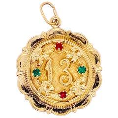 Sweet 13 Pendant in 14 Karat Gold, Gold Disk for Charm Bracelet or Necklace, 13