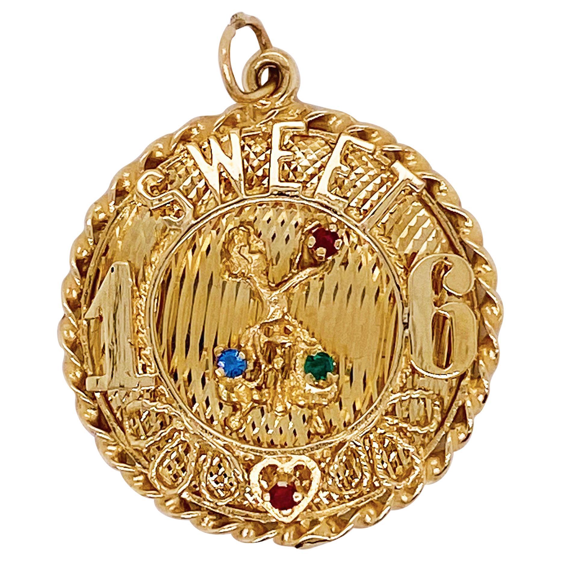 Sweet 16 Pendant in 14 Karat Gold, Gold Disk for Charm Bracelet or Necklace