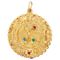 Sweet 16 'Sixteen' Large Charm in 14k Gold, Red, Blue and Green Colored Gemstone