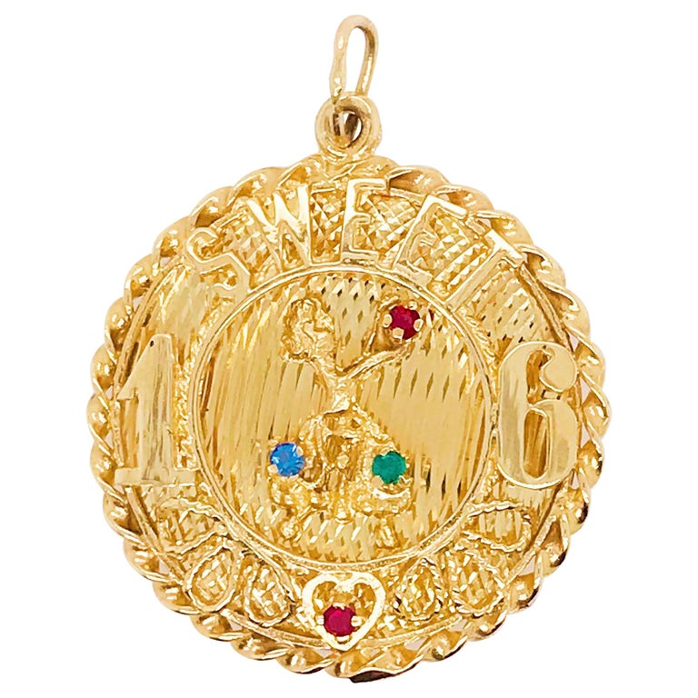 Sweet 16 'Sixteen' Large Charm in 14k Gold, Red, Blue and Green Colored Gemstone For Sale