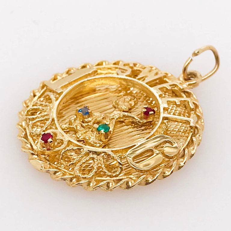Artisan Sweet 16 'Sixteen' Large Charm in 14k Gold, Red, Blue and Green Colored Gemstone For Sale