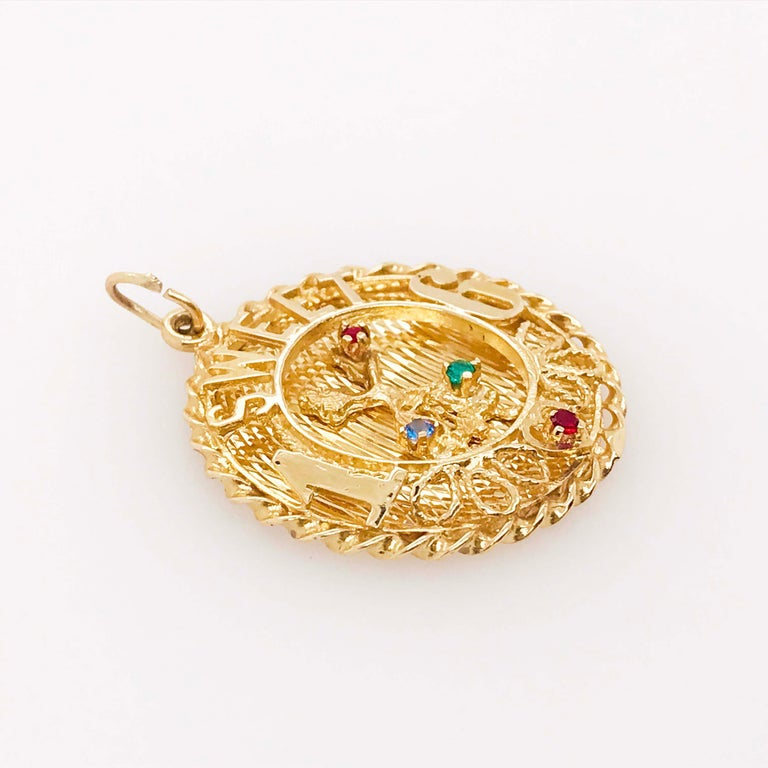Sweet 16 'Sixteen' Large Charm in 14k Gold, Red, Blue and Green Colored Gemstone In Excellent Condition For Sale In Austin, TX