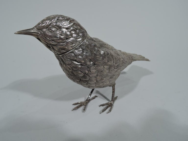 Dutch 833 silver figural box, 1927. Sweet and small bird with firm downy body, wide erect tail, and scaly talons. Head detachable. Fully marked including date letter and export symbol. Weight: 7.3 troy ounces.