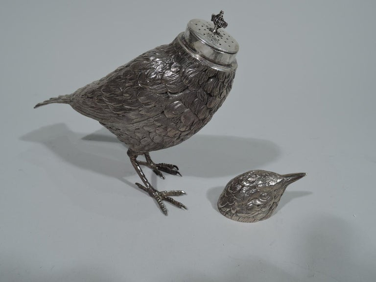 Early 20th Century Sweet and Small Antique Dutch Silver Bird Spice Box For Sale