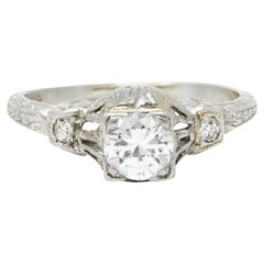 Sweet Art Deco 0.41 Carat Diamond Platinum Engagement Ring