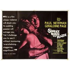 """Sweet Bird of Youth"" 1962 British Quad Film Poster"