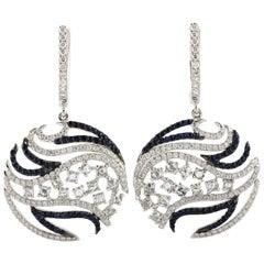 Sweet Diamond and Blue Sapphire Dangle Earring in 18 Karat White Gold