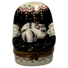 Sweet Limoges France Sleeping Cat in Chair Hand Painted Porcelain Trinket Box