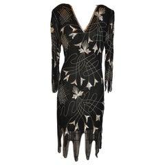 Sweet Lo Iconic '70s Black Chiffon Scallop Hemline Beaded Evening Dress