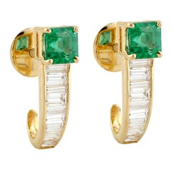 Sweet Looking Baguette Diamond and Princess Cut Emerald Stud Earring in 18k Gold