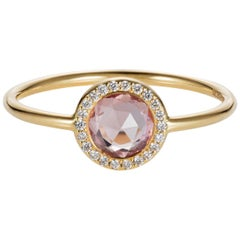 Sweet Pea 18k Gold Rose Cut Pink Sapphire Engagement Ring With Diamond Halo