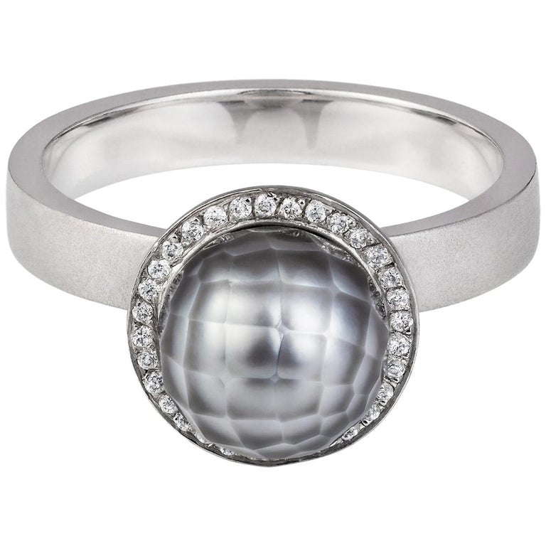 Pearl And Diamond Engagement Rings: Sweet Pea 18k White Gold Engagement Ring With Grey Faceted