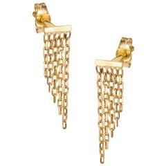 Sweet Pea 18 Karat Yellow Gold Chain Fringe Stud Earrings