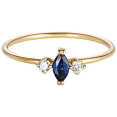 18 Karat Yellow Gold Marquise Blue Sapphire and Diamond Engagement Ring