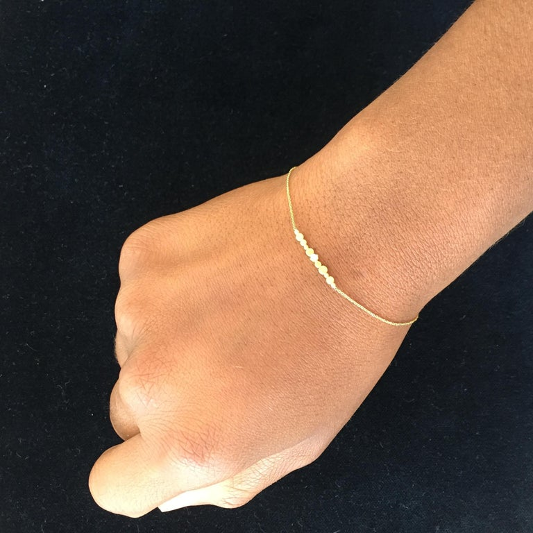 Diamond and 18 Karat Yellow Gold Bar Bracelet In New Condition For Sale In London, GB