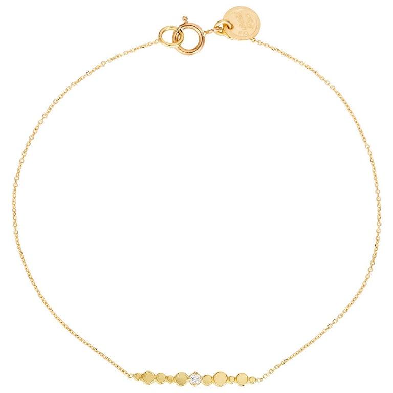 Diamond and 18 Karat Yellow Gold Bar Bracelet For Sale