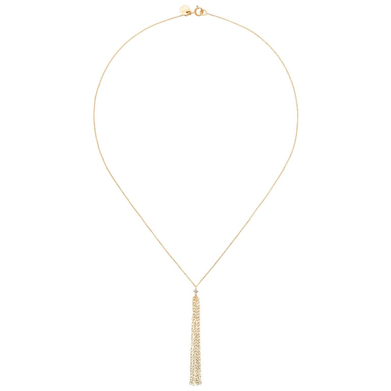 Gold Tassel 18 Karat Yellow Gold and Diamond Necklace with Chain Drop For Sale