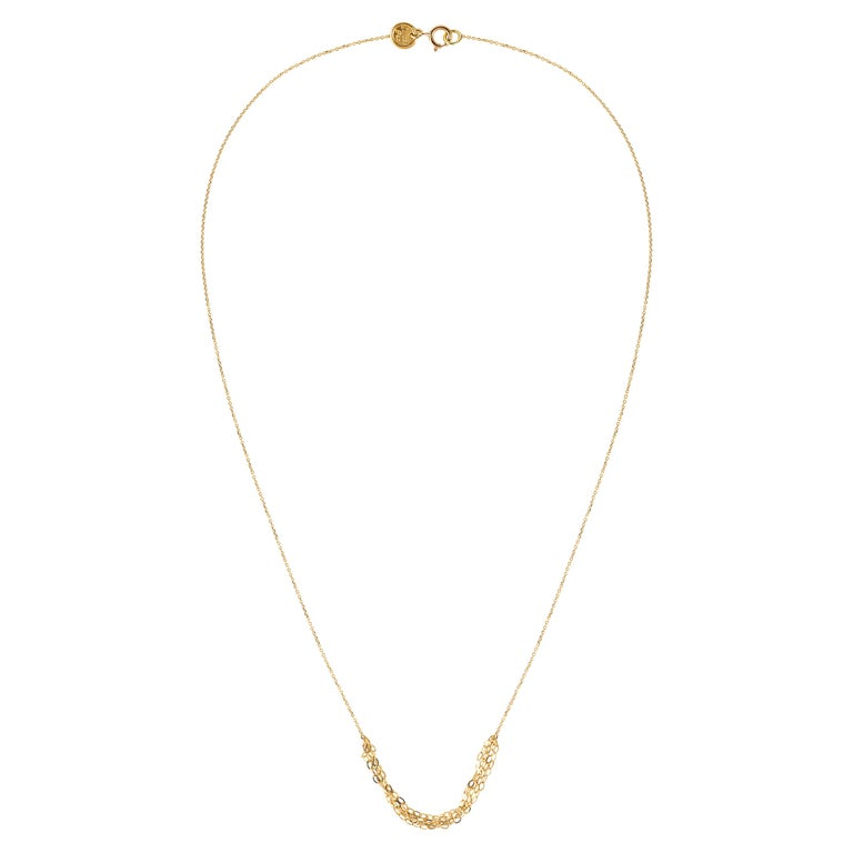 Gold Tassel 18 Karat Yellow Gold Necklace with Layered Chains For Sale