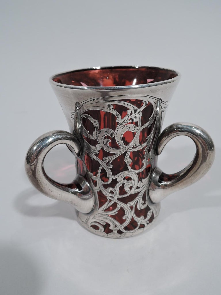 Art Nouveau Sweet and Small Antique Red Silver Overlay Loving Cup Bud Vase For Sale
