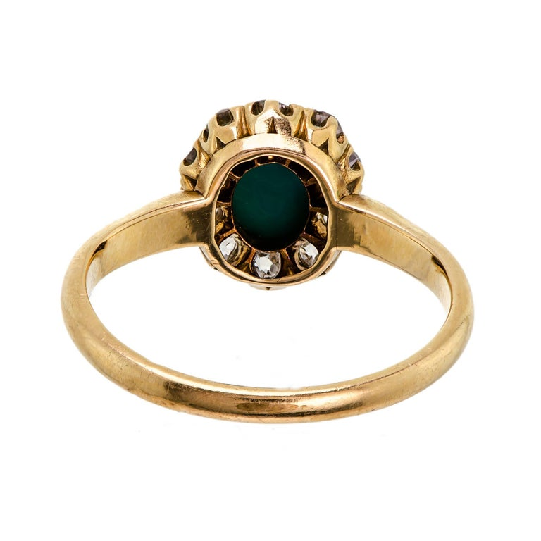 Sweet Victorian Turquoise and Diamond Ring In Excellent Condition For Sale In Lombard, IL