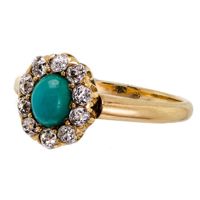 Women's Sweet Victorian Turquoise and Diamond Ring For Sale